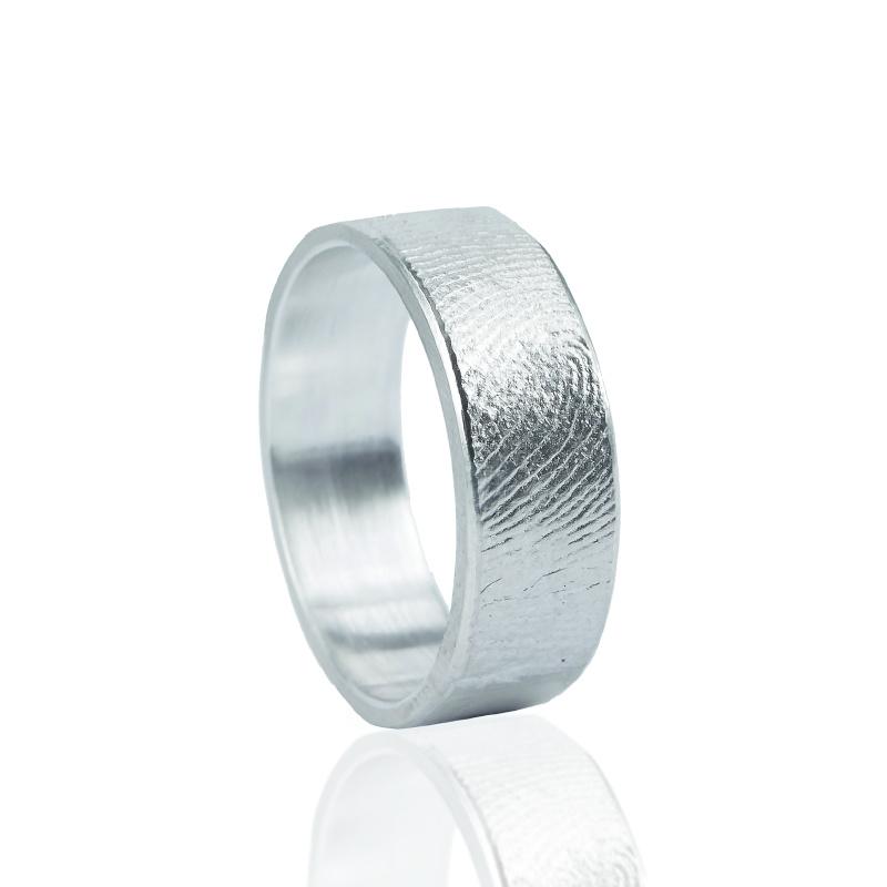 Vingerafdruk ring. Dikte 1.5mm, rvs 2mm - Z0101-00
