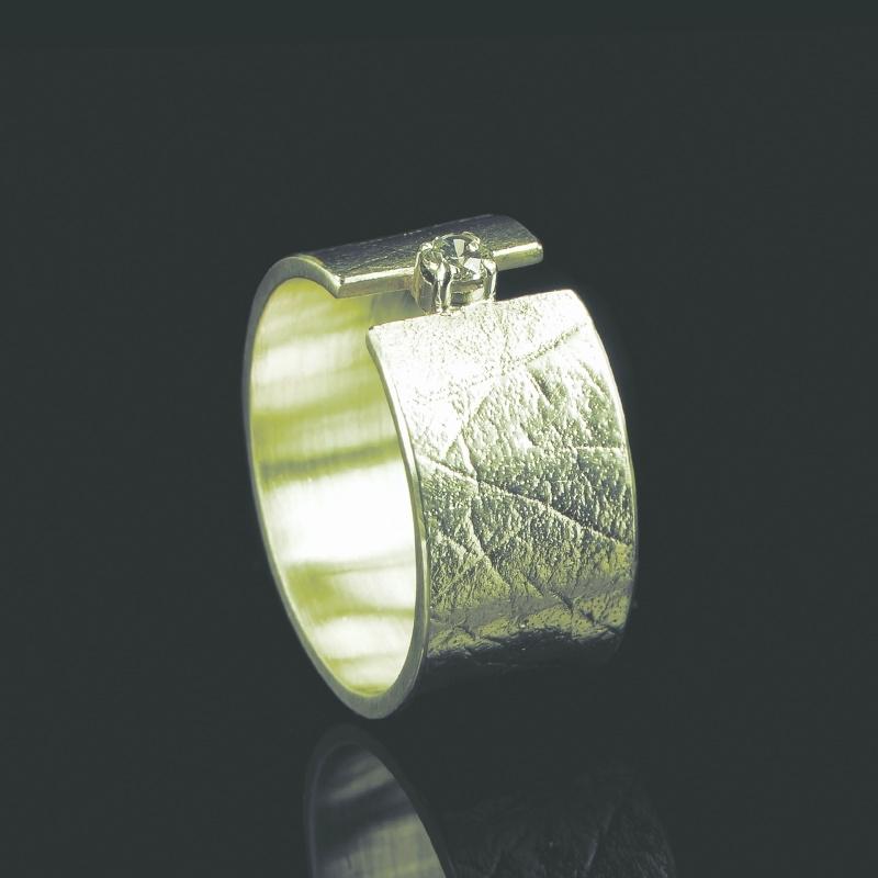 Vingerafdruk ring met chaton met zirkonia 2mm - G0101-10