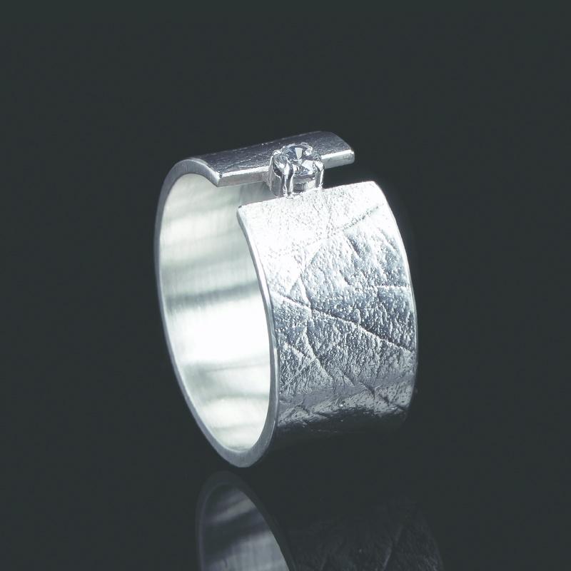 Vingerafdruk ring met chaton met zirkonia 2mm - Z0101-10