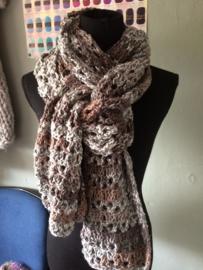 Sjaal dubbel geknoopt  mosgroen bruin room  grijs
