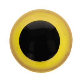twee kleuren oogjes zwart/geel 8mm