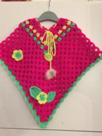 Meiden poncho  neon roze