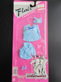 Flair Fashions Barbie repro blauw gestreept setje