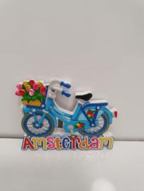 Magneten - Fiets - Amsterdam  - Steen - 8 x 7  cm - Set 3 stuks