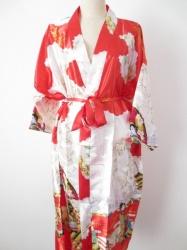 Japanse Kimono + Ceintuur  - Rood  - Lang  - One Size. Draagt heerlijk. Wasbaar op 40 graden. En blijft mooi.
