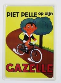 Piet Pelle op zijn Gazelle - 20 x 30 cm