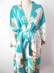 Japanse Kimono + Ceintuur  - Turqouise  - Lang  - One Size. Draagt heerlijk. Wasbaar op 40 graden. En blijft mooi.