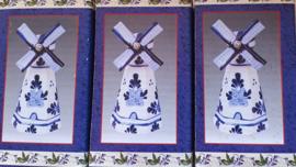 Molens - Set 3 stuks - 9 x 4 x 4 cm - met Draaiende Wieken Porselein