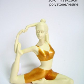 Yoga vrouw - Arm achter Hoofd - 20 x 19 cm