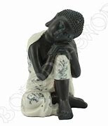 Boedha Slapend - 35 x 28 x 24 cm - Zilver-Zwart
