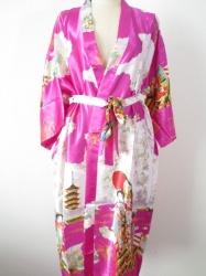 Japanse Kimono + Ceintuur  - Roze  - Lang  - One Size. Draagt heerlijk. Wasbaar op 40 graden. En blijft mooi.