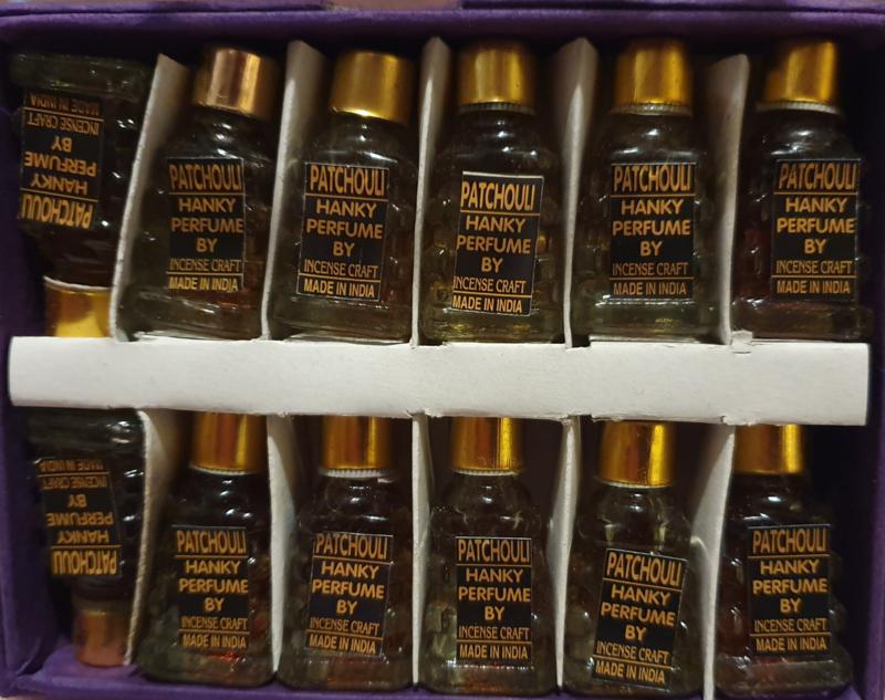 Patchouli - Olie - Merk Hanky - Doos met 12 flesjes á 5 ml