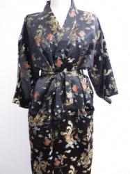 Kimono + Ceintuur  - Zwart gedecoreerd met draken - Lang  - One Size
