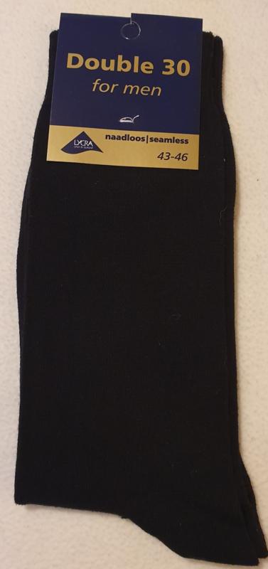 Sokken Heren Double 30 Naadloos - Maat 43-46 - Speciaal geschikt voor Neuropathie en Diabetici