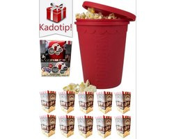 Premium Popcorn maker – Incl. 10 Popcorn bakjes – Machine - Popper – Mais – Siliconen – Magnetron & vaatwasser geschikt – Hittebestendig