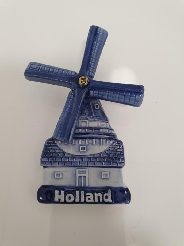 Magneet Molen - Delfts Blauw - Porselein