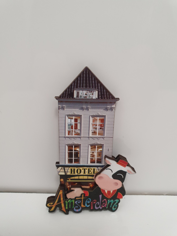 Magneten - Grachtenpand-Koe-Amsterdam - Hout - Set 3 stuks - 9 x 4  cm