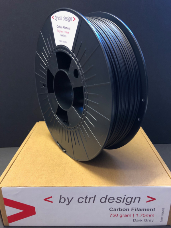 Dark Grey Carbon Filament op rol 0,75 kg 1,75mm