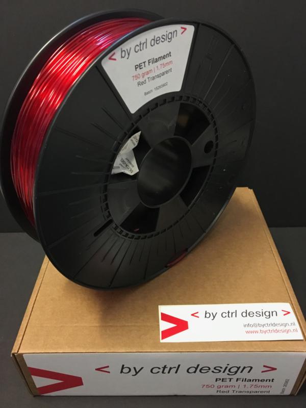 PET-G filament  Red Transparant 750 gram 1,75 mm / 2,85 mm (3mm)