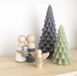 Houten kerststal poppen