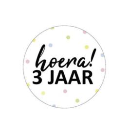 Sticker 'hoera 3 jaar' (10 stuks)