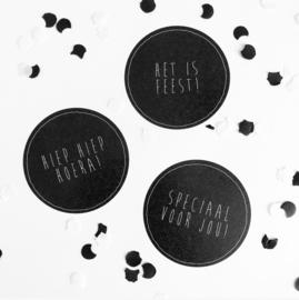 Zwarte grote stickers 'Feest' (9 stuks per zakje)
