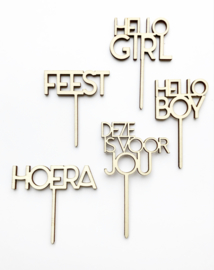 Houten caketopper 'Hello Boy'