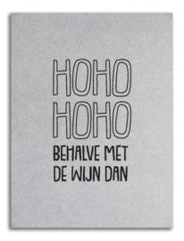 Kerstkaart grijsboard 'ho ho..'
