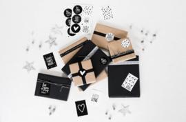 Set kerst cadeaustickers zwart/wit (12 stuks)