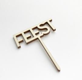 Houten caketopper 'Feest'
