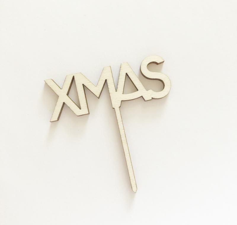 Houten caketopper 'XMAS'