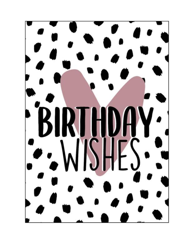 Kaart  dots 'birthday wishes'