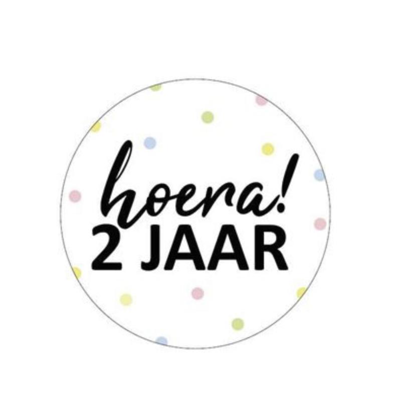 Sticker 'hoera 2 jaar' (10 stuks)