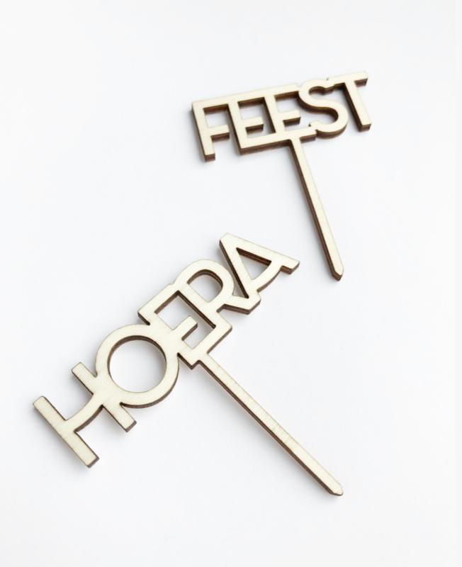 Houten caketopper 'Hoera'
