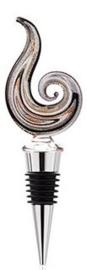 Flessenstop met Italian style glas 14x5cm zwart zilvergrijs