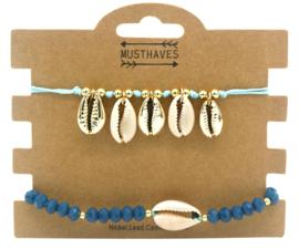 set 2 blauwe schelpen armbandjes
