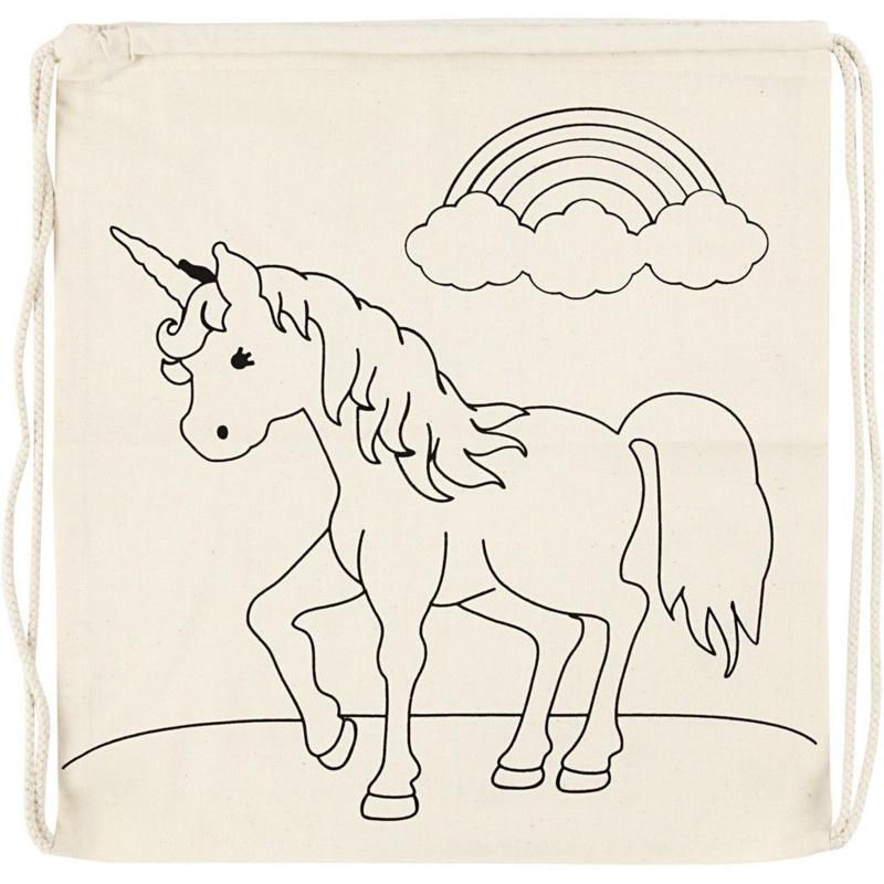 Rugzak, afm 37x41 cm, 110 g/m2, licht naturel, unicorn