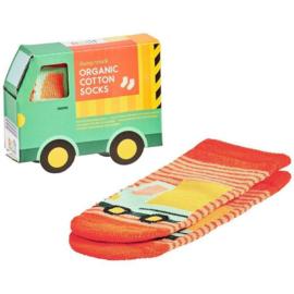 Petit Collage Organic Baby Socks Dump truck  12-18 mnd