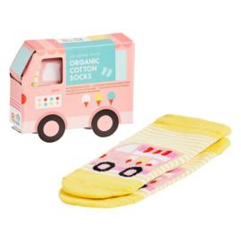 Petit Collage Organic Baby Socks Ice cream truck 12-18 mnd