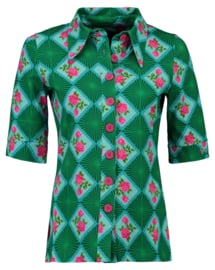 Tante Betsy Button Shirt Doily n Rose Green