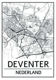 Ansichtkaart plattegrond Deventer