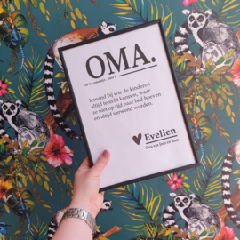 Poster A4 'oma' & inclusief lijst
