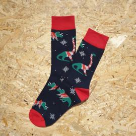 NO MORE BORING SOCKS - Dino christmas black