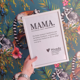 Poster A4 'mama' & inclusief lijst