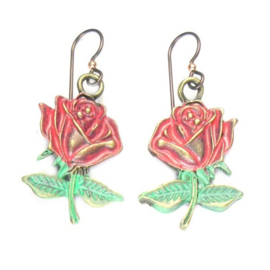 Urban Hippies oorbellen Red Rose