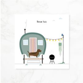 Frits teckel wenskaart | Nieuw huis
