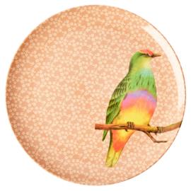 Rice Melamine plate bird beige groot
