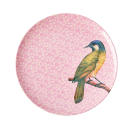 Rice Melamine plate bird pink