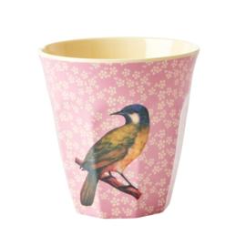 Rice Melamine beker pink bird