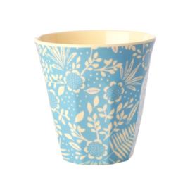 Rice Melamine beker blue Fern and flower print